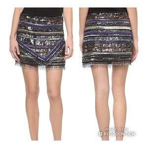 Parker Corsica Beaded Tribal Mini Skirt 4 NWT